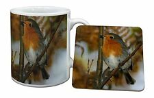 Autumn Robin Red Breast Mug+Coaster Christmas/Birthday Gift Idea, AB-R21MC