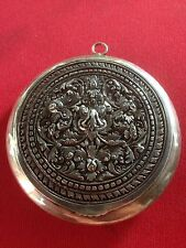 """Antique sterling silver pendant compact with mirror 2 1/2"""" diameter"""