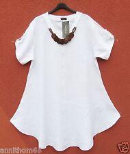 NEU SARAH SANTOS Leinen Kleid Linen Dress Robe mit Kette M 40 42 Lagenlook