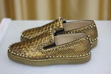 NEW CHRISTIAN LOUBOUTIN Pik Boat Flat Spikes Gold Python Sneaker Loafers Shoe 44