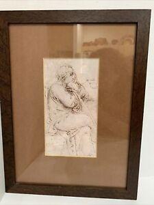 "Original Art Sketch Drawing 9x5"" Wise Old Man Sitting Matted Wood Frame 18x13"""