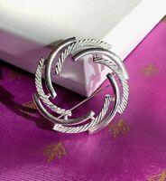 Sarah Coventry SILVERY SWIRL Brooch Pin Modern Elegance