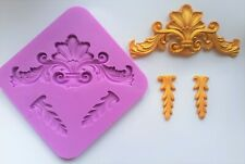 ORNATE FLEUR DE LYS AND CORNERS SILICONE MOULD FOR CAKE TOPPERS CHOCOLATE