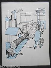 "CLIFFORD C LEWIS ""CLEW"" Original Pen & Ink Cartoon - Salesman & Guard Dog #30"