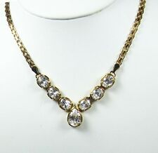 VNTG SUZANNE SOMERS LIMITED EDITION BRILLIANT CZ GRAND NECKLACE STERLING / GOLD