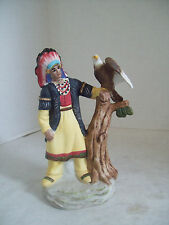 Native American Indian With Eagle Figurine Porcelain
