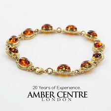 ITALIAN MADE BALTIC AMBER BRACELET IN 9CT GOLD -GBR090 RRP£750!!!