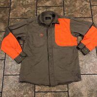 Vtg Redhead Hunting Shirt Beige Safety Orange Shoulder Shooting Patch Size M