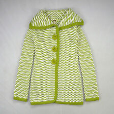 FREE PEOPLE Soft Green White Wool Chunky Knit Cardigan Sweater Duster Jacket S