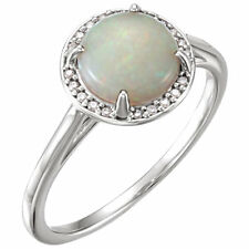 Genuine Opal Australian Cab Gemstone & .05 ctw Diamonds Halo Ring 14K White Gold