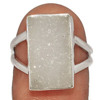 Natural Cluster Quartz Druzy 925 Sterling Silver Ring XGB Jewelry s.6 BR42552