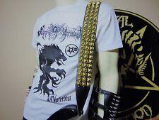 LEATHER BRASS GOLD STUDDED GUITAR STRAP . BLACK METAL ..(MDLS0123).. SCHULDINER