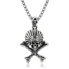 Stainless Steel Men Indian Skull Crossbones Pendant Chain Unisex Biker Necklace