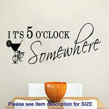 "Kitchen wall stickers, ""ITS 5 O'CLOCK SOMEWHERE"" Restaurant wall sticker, decor"
