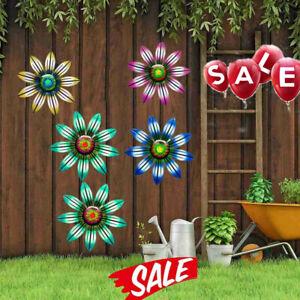 Metal Flower Wall Art Sculpture Outdoor Hanging Ornament Garden Decor