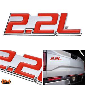 """2.2L"" Polished Metal 3D Decal Red&Silver Emblem For Isuzu/Chevrolet/BMW/Ford"