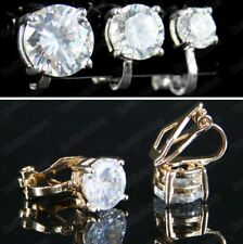 CLIP ON 6mm 8mm 10mm CZ EARRINGS cubic zirconia GOLD/SILVER PLATED cut crystal