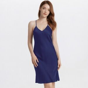Ladies Satin Slips Dress Sleeveless Faux Silk Petticoat Strap V Neck Slit Slim