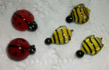 "5 Pc Art Glass Mini Bees & Lady Bugs, Preowned, Bees-1x1/2"", Lb's-7/8x3/4"""