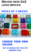 Choose your own Colour Genuine Lego x5  Brick 1 x 2  Lego Bricks