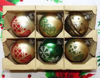 Vintage Shiny Brite 6 Mercury Glass Christmas Ornaments Gold w Mica Stencil Box
