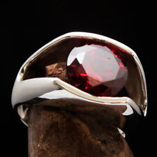 Cubic Zirconia 10 Mm Size 10 Stunning Mens Sterling Silver Solitaire Ring Red