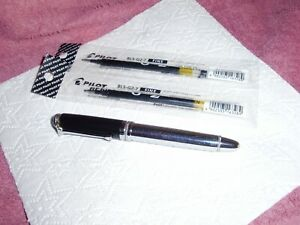 Chrome Plated Roller ball Pen ( SPIRIT ) Pilot Refil bBLS-G2-7,Has 3 New Refils.