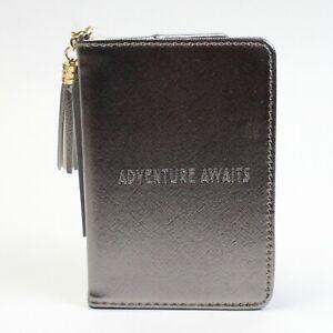 """Silver """"Adventure Awaits"""" Passport Holder / Travel Wallet. Shine Bright Range."""