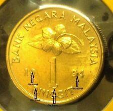 "MALAYSIA RM1 Coin ERROR DIE BREAK (Keris/Songket) 1994 Semi Key Date ""UNC/BU"" #3"