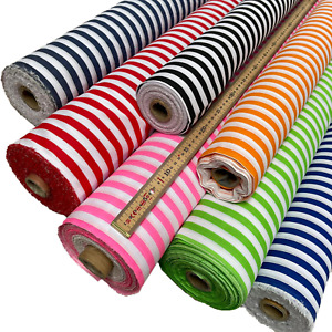 Polycotton Fabric 1cm Wide Stripes Sold By The Metre 114cm Wide