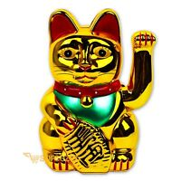 "Maneki Neko Beckoning Cat Gold Wealth Lucky Charm Waving Kitty Feng Shui 7"" Tall"