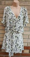 RIVER ISLAND CREAM WHITE BLACK FLORAL CUT OUT SHORT SLEEVE BELTED A LINE DRESS L