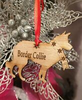 Border Collie Personalised  Christmas Dog Decoration Gift Pet Tree Bauble