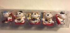 Set of 5 Maneki Neko Lucky Cats Ceramic Japanese Style Brings Fortune Prosperity