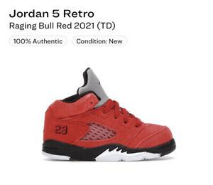 Nike Air Jordan 5 Retro Raging Bull Red 2021 (TD) Size 10c 440890-600 NIB