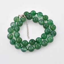 LARGE 13 mm GREEN AGATE BEAD Necklace knotted with 925 Silver extender 18+2 #L14
