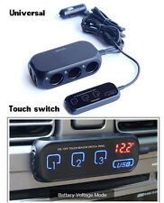 1pcs  3 Way Car Cigarette Lighter Socket outlet Adapter/Splitter Touch Switch