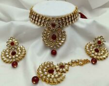 South Indian Bollywood Red Choker Necklace Earring Maang Tikli Fashion Jewelry
