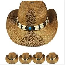 US SELLER COWBOY HAT Western Shapeable STRAW Cowgirl Raffia Rodeo MEN WOMEN