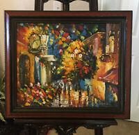 "Leonid Afremov-""The Rails of the Night""-ORIGINAL Oil Painting/Canvas/Signed/COA"