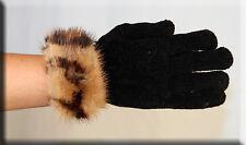 New Black Chenille Gloves Leopard Print Mink Fur Trim - Efurs4less