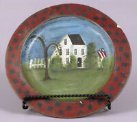 PRIMITIVE COLONIAL AMERICAN PAINTING HOMESTEAD FLAG ON ANTIQUE PEWTER PLATE !!