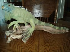 Large Iguana/Lizard On Driftwood All Resin Sculpture - Signed And Dated/Detailed