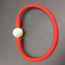 Red Elastic Silicone Rubber Leather Band with White Pearl Beads Bracelet