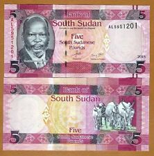 South Sudan, 5 Pounds, 2015, Pick 6b New date and signature, Unc