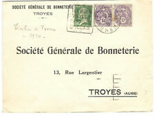 France Stamps 189 116 x2 Cover Tlemcen - Troyes Slogan Canc +CDS  30AUG1930
