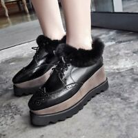 Retro Women's Leather Brogues Square Toe Lace Up Loafers Casual Thick Sole Shoes