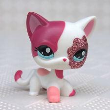 Littlest Pet Shop Cat #2291 Pink White Glitter Sparkle Short Hair LPS