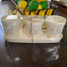 Rae Dunn Live Love Plant Set Planter & Tray Spring