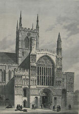 1881 Large Antique Engraving - Rochester Cathedral, Kent, England -Founded AD604